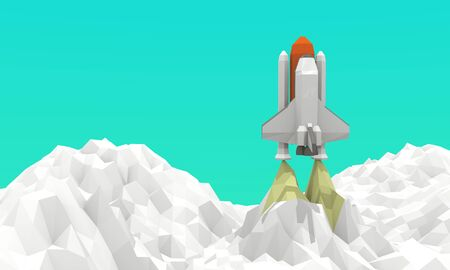 Space Shuttle Launch Low-poly 3d rendering