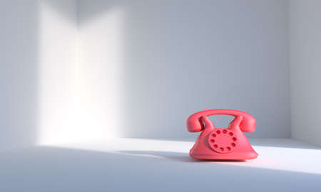 Red phone in white room with window lighting 3d rendering
