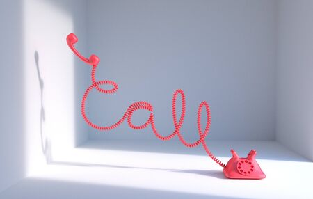 miss call: Typography of telephone chord roll in word Call 3d rendering