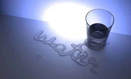 Water Typography word  on desk rendering from 3d