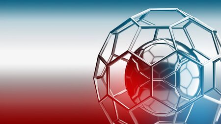 Football structure broadcast red and blue background 3d rendering 版權商用圖片