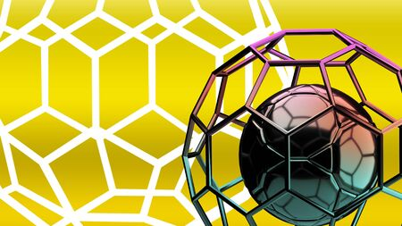 Football structure broadcast yellow background 3d rendering