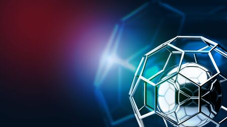 squad: Football structure broadcast blue tone background 3d rendering