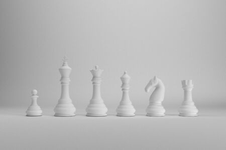 White chess pieces index on white backgrond 3d render
