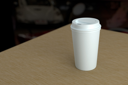 Paper coffee cup with lid mock-up on wood table depth of field photo style 3d rendering 版權商用圖片