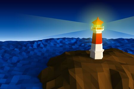 Lighthouse on cliff by the sea are lighten low-poly 3d rendered 版權商用圖片