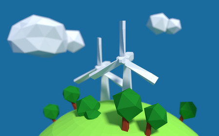 Two white wind turbine generator on the earth with good ecology low-poly 3d rendered 版權商用圖片