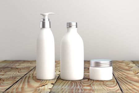 Cosmetic  packaging template white and silver screw cap set 3d on wood table organic feeling 3d rendered
