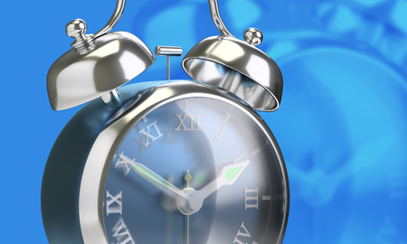 Closeup vintage alarm clock roman number blue background 3d render