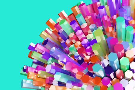 abstract background colorful hexagon bar 3d rendered with clipping path 版權商用圖片