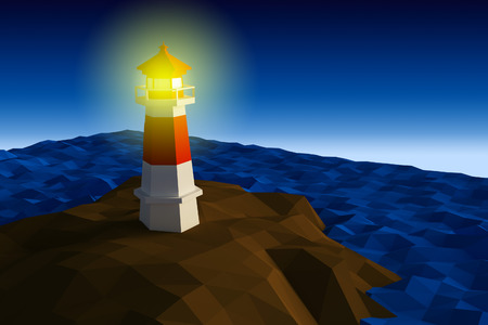 brook: Lighthouse on cliff by the sea low-poly 3d rendered Stock Photo