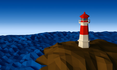 Lighthouse on cliff by the sea daytime low-poly 3d rendered 版權商用圖片