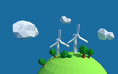 Two white wind turbine generator on the earth with good ecology low-poly 3d rendered Stock Photo
