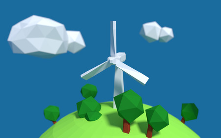 White wind turbine generator on the earth with good ecology low-poly 3d rendered