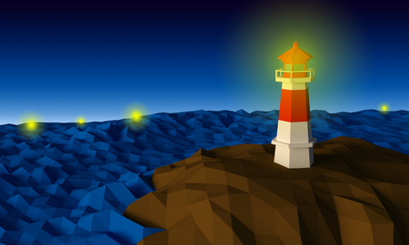 Lighthouse on cliff by the sea in the night low-poly 3d rendered Stock Photo