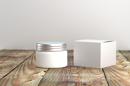 Cosmetic  packaging template white and silver screw cap with box on wood table organic feeling 3d rendered