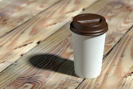 Paper coffee cup with brown lid mock-up on wood table 3d rendering 版權商用圖片