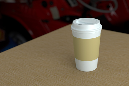Paper coffee cup with lid and heat protect mock-up on wood table depth of field photo style 3d rendering 版權商用圖片
