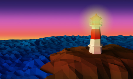 Lighthouse on cliff by the sea in twilight time low-poly 3d rendered