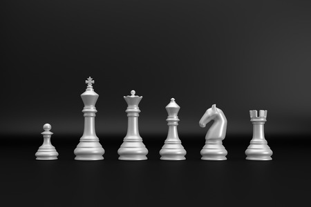 White chess pieces index on black backgrond 3d render