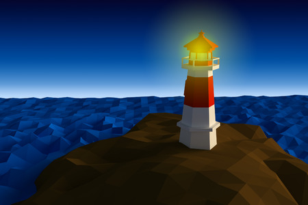Lighthouse on cliff by the sea low-poly 3d rendered Stock Photo