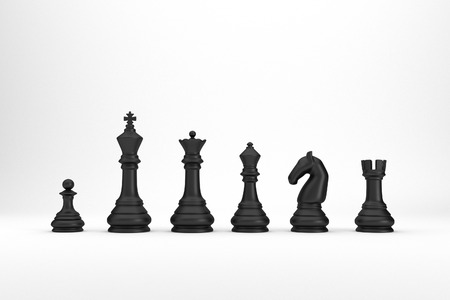 Black chess pieces index on white backgrond 3d render