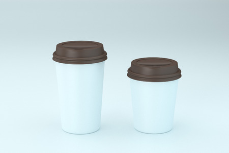 Paper coffee cup with brown lid mock-up 3d rendering
