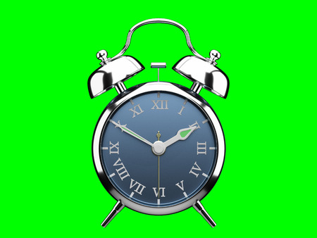 Vintage alarm clock roman number blue dial isolated 3d render 版權商用圖片
