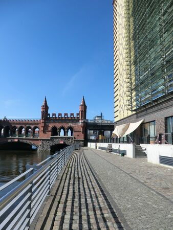 Berlin, East Harbor - View of the Spree past the Oberbaumbrcke