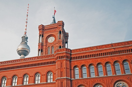 Berlin - Alexanderplatz - The Red City Hall with the TV tower