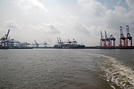 Port of Hamburg 2012 - harbor view from the loading of a container ship