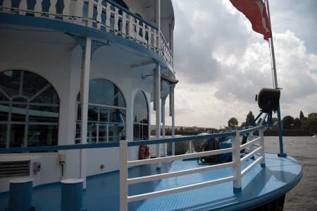 mooring bollards: Port of Hamburg 2012 - Harbor Cruise in blue Stock Photo