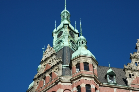 Port of Hamburg - Warehouse District - pediment and clock tower photo