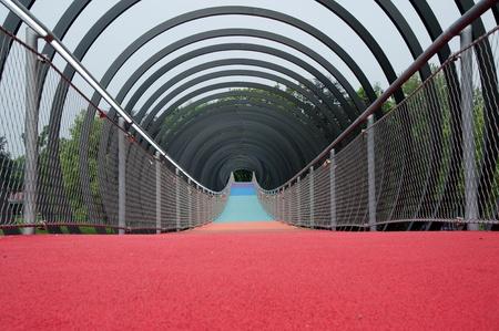 slinky: Structures - The Slinky Bridge in Oberhausen spans the Rhine-Herne Canal at the lock Oberhausen Editorial