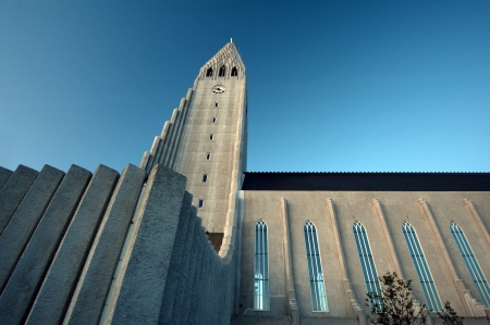 Hallgrimskirkja, church in the northern capital of Europe, look to the tower up