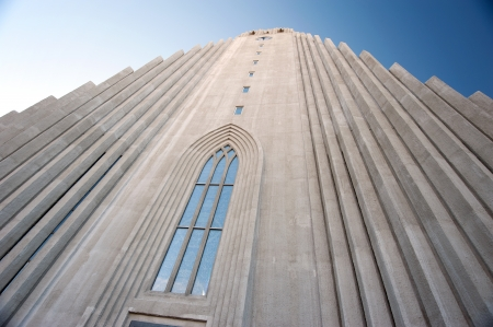 Reykjavik, Hallgrimskirkja, church in the northern capital of Europe, with a view to the front tower high Stock Photo