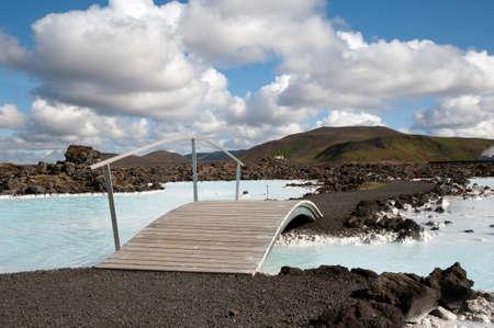 The southwest of Iceland, Reykjanes peninsula south of Reykjavik, Bridge at the  Blue Lagoon  Stock Photo