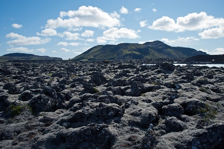 The southwest of Iceland, Reykjanes peninsula south of Reykjavik, Lava Field at the Blue Lagoon