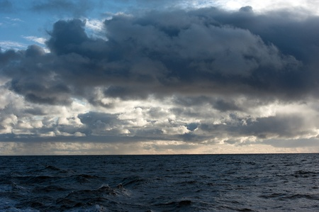 The southwest of Iceland, rain clouds over the North Atlantic Stock Photo