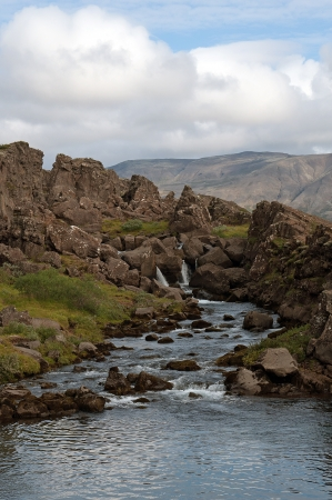 The southwest of Iceland, river with small waterfall in �ingvellir in the  Golden Circle