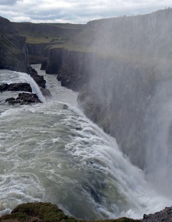 The southwest of Iceland, The  Golden Waterfall  Gullfoss in the  Golden Circle