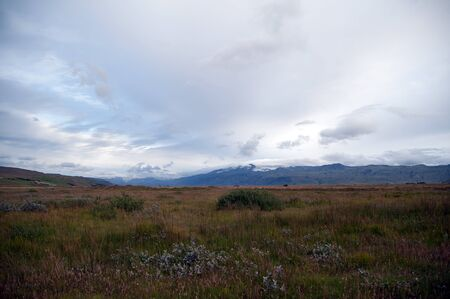 pastureland: The southern Iceland, pastureland with the famous Eyjafjallaj�kull volcano in the background