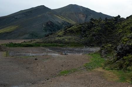 pflanzen: Der S�dwesten Islands, Obsidian-Lavafeld Laugahraun vor Vulkan-Kulisse in Landmannalaugar