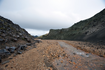 The southwest of Iceland, glacial river before volcanic scenery in Landmannalaugar photo