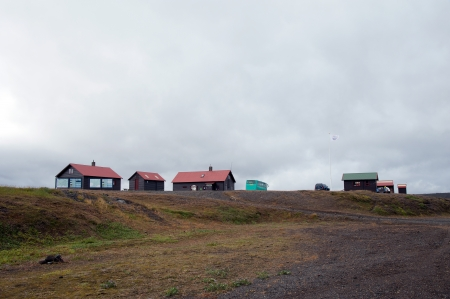 infamous: On one of the famous and infamous highland routes, the Sprengisandur by Iceland Highlands  An uninhabited volcanic ash and desert  One of the few stops on the way