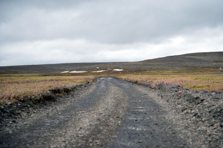infamous: On one of the famous and infamous highland routes, the Sprengisandur by Iceland Highlands  An uninhabited volcanic ash and desert  The  easy  part of the road