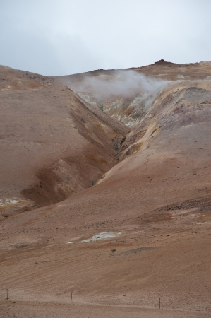 volcano slope: The North of Iceland, Volcano slope with Canyon behind high-temperature field Namaskard at Lake Myvatn