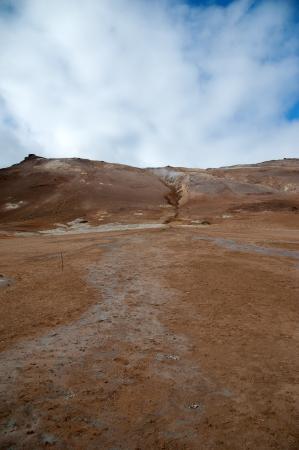 volcano slope: The North of Iceland, Volcano slope with Canyon behind high-temperature field Namaskard at Lake Myvatn