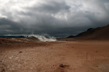 The North of Iceland, geysers and hot mud pools in the high-temperature field Namaskard at Lake Myvatn
