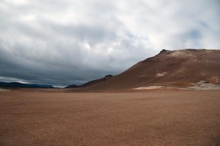 volcano slope: The North of Iceland, Volcano slope behind high-temperature field Namaskard at Lake Myvatn Stock Photo